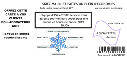 500 CARTES OUI PASS NEIGE COLLECTIVITES       (LOT DE 500 CARTES PERSONNALISABLES)